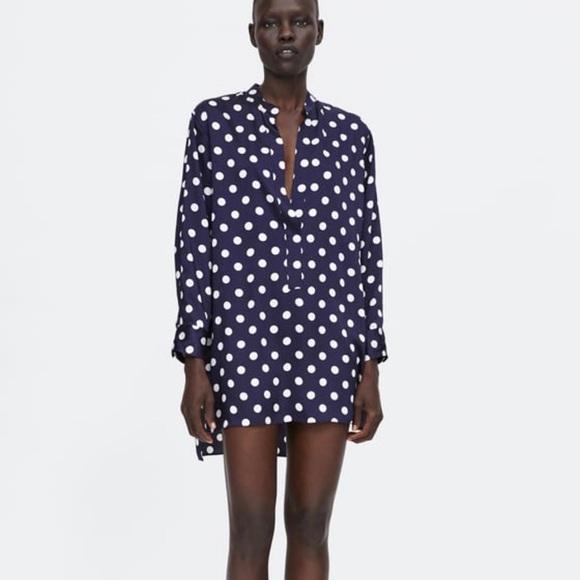 6a6d48d7 Zara Dresses | Polka Dot Tunic Blouse Dress | Poshmark